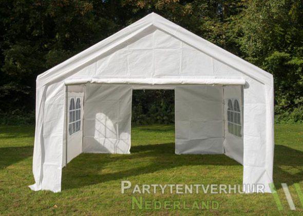 Partytent 4x4 meter voorkant met deur open huren - Partytentverhuur Groningen