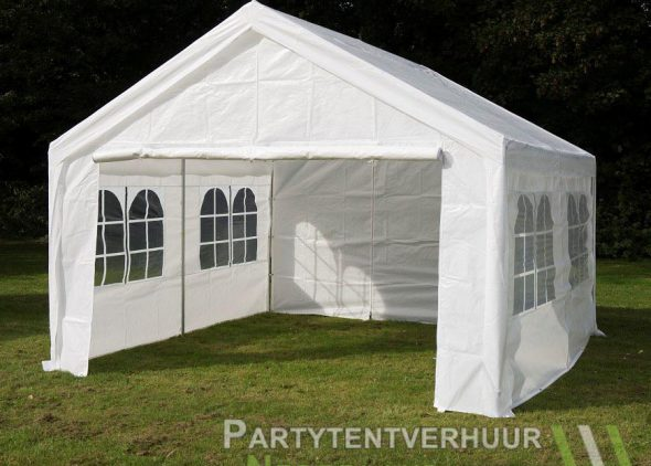 Partytent 4x4 meter voorkant schuin huren - Partytentverhuur Groningen